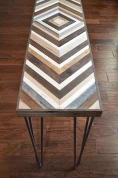 Chevron Console Table with Hairpin legs Wood by moderntextures, $600.00