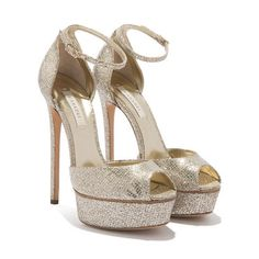 For Casadei, perfection is a matter of inches, therefore this delicate strap has been designed to buckle at the slimmest part of your ankle for a flattering look. Champagne Wedding Shoes, Wedding Pumps, Golden Shoes, Peep Toe Shoes, Glass Slipper, Luxury Shoes, Shoes Online, Designer Shoes, Fashion Shoes