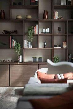 Wood storage unit built ins 21 Ideas for 2019 Home Office Design, Home Interior Design, House Design, Living Room Shelves, Living Room Decor, Shelf Design, Deco Design, Decoration Design, Display Shelves