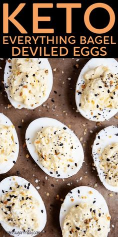 Keto Everything BAGEL Deviled Eggs! If you loved everything bagels pre-keto, you will absolutely love this creative twist on standard keto deviled eggs. Keto Everything Bagel Deviled Eggs take deviled eggs to a whole new level and will be a HUGE hit at parties. Oh, and they takes just minutes to make! If you're looking for a great keto appetizer recipe, keto party recipe, or keto lunch box recipe, give these creative low carb deviled eggs a try!