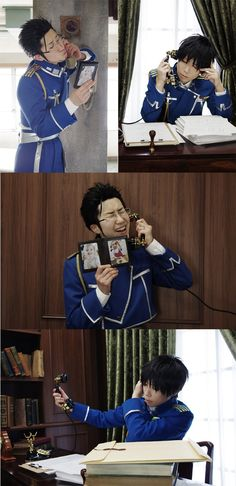 Maes Hughes bothering Roy Mustang at work <<< I bet that Roy wishes this could still happen. >:)