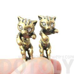 Unique Fake Gauge 3D Kitty Cat Animal Faux Tapers Stud Earrings in Brass - $13.50 #kitties #kittens #cats #animals #jewelry #earrings #cute