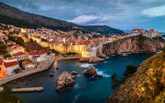 Download wallpapers Dubrovnik, evening, cliffs, ?roatia, Europe