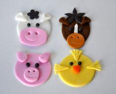 Edible Farm animal Cupcake Topper-Plants And Edibles, Candy, cake topper, cupcake topper, edible decoration, barnyard topper, cow topper, bi...