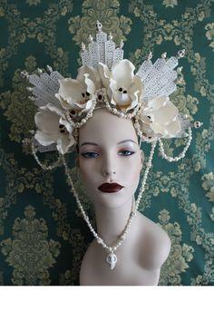 Grann Brigitte - Saint Headdress of Skull Flowers and pearls by Mascherina, $205.00 #voodoo #costumedesign #millinery