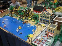 Michigan LEGO Train Club at Ann Arbor Train Show, Saline Michigan, February 2011 Lego City, Legos, Saline Michigan, Lego Beach, City Layout, Lego Boards, Lego Pictures, Lego Trains, Lego Modular