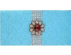 wedding envelope design in aquamarine with red golden brooch