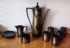 Portmeirion Pottery Coffee set, Phoenix, John Cuffley , 1960's, black gold, Retro by 20thCenturyParade on Etsy