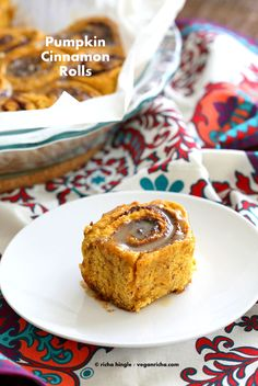What's fall without warm Pumpkin Cinnamon Rolls! A load of Pumpkin Pie Spice, pumpkin puree in these simple rolls, which are filled with coconut sugar and cinnamon and baked to a beautiful golden. Then glazed with a simple coconut milk + sugar glaze.