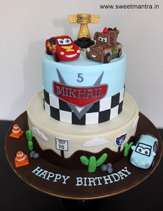 Disney Pixar Cars Lightning McQueen theme customized designer 2 layer fondant cake with 3D Mcqueen, Mater, Sally, Piston Cup for birthday boy at Pune