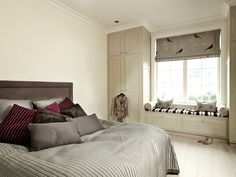 Bedroom but Vice versa : gray walls, beige on the bed. @Donna Williams, these blackbird curtains remind me of you!