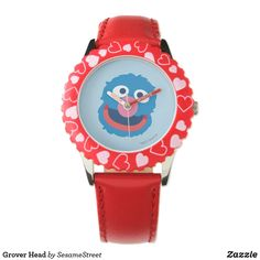 Shop Grover Head Wristwatch created by SesameStreet. Learn To Tell Time, Presents For Kids, Some Body, Big Bird, Kid Names, Cool Gifts, Red Leather, My Design, Unisex