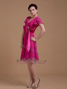Buy fuchsia cocktail dress for prom with a bowknot universal city from ladies cocktail dresses collection, v neck neckline empire in fuchsia color,cheap knee length dress with zipper back and for prom party cocktail party . Cocktail Dress Prom, Womens Cocktail Dresses, Universal City, Prom Party, Dress Collection, Prom Dresses, Lady, Color, Style