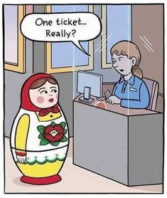 Funny Russian Doll Buying Ticket Cartoon Joke Picture - One ticket. Funny Shit, Haha Funny, Funny Cute, Funny Posts, Hilarious, Funny Stuff, Funny Things, Funny Cartoons, Funny Comics