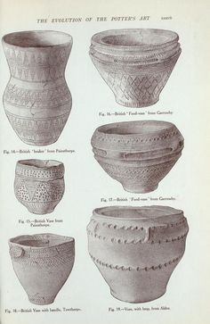 Vessels from the ancient British barrows: Fig. (Illustrations to the T. Ancient Beauty, Ancient Egyptian Art, Ancient Aliens, Ancient Greece, Ancient History, Ceramic Clay, Ceramic Pottery, Ceramic Techniques, Celtic Art