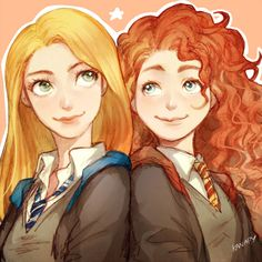 Rapunzel from Tangled and Merida from Brave  Hogwarts Crossover