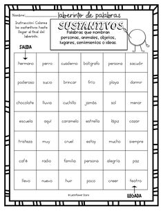 Laberinto de Palabras: Sustantivos Elementary Spanish, Spanish Classroom, Teaching Spanish, Learning Activities, Teaching Resources, Spanish Worksheets, Reading Centers, Yoga For Kids, Spanish Language