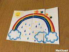 ザーザー雨の空が…パッ!虹のかかるキラキラの空に変身!牛乳パックだけで作れるまるで手品みたいな不思議な変わり絵。仕掛けを使ってプレゼントカードにアレンジしてもいいね♪