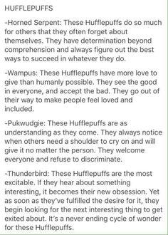 Hufflepuff and Thunderbird: very true
