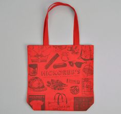 HICKOREE'S: Hickoree's Poster Tote, Red Canvas with Maroon Ink