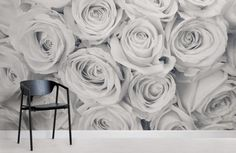 Rose Mist Wallpaper Mural, custom made to suit your wall size. A fresh rose wallpaper design that will create a natural feel, perfect bedroom wallpaper style. White Roses Wallpaper, Rose Flower Wallpaper, Grey Wallpaper, How To Hang Wallpaper, Normal Wallpaper, Big Flowers, White Flowers, Flower Room, Home