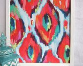 16x20 Artist Painting Print abstract Ikat artwork with turquoise