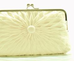 Ivory Pleated Chiffon Button Clutch Size Large by HeidiCreations