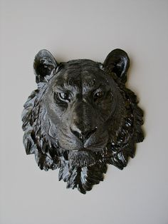 Faux Taxidermy Tiger Head Wall Hanging: Tommy the Tiger in glossy black. $120.00, via Etsy.