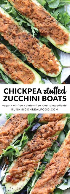 These vegan chickpea stuffed zucchini boats are super easy to make in 20 minutes with just 4 simple, wholesome ingredients. Enjoy them as a main or side to another dish, or even chopped up and place on top a big salad. Eat 'em with your hands or a knife and fork. No matter how you enjoy them, they're delicious! Low calorie, low fat, high in protein.  Get the full recipe: http://runningonrealfood.com/chickpea-stuffed-zucchini-boats/