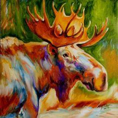 paintings of moose | Art Moves!: MOOSE STUDY ~ 18x18 ORIGINAL OIL WILDLIFE PAINTING ...