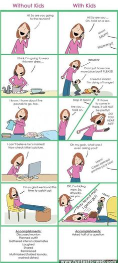 Talking on the phone with kids vs without kids. lol glad I'm not the only one....