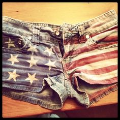 @Wendy Felts Felts Felts Felts Edmondson we need to do this soon!!! DIY flag shorts using fabric paint (or fabric spray paint), tape, and large star stickers!
