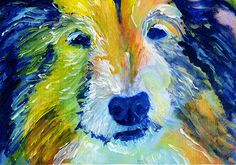 Collie Dog Painting Blue and Orange, Collie dog Print , watercolor art print Lassie Dog Art rough collie gift idea Collie… #dogs #etsy #art