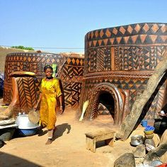 "Posted from  @thepanafrican page on Instagram.  A woman in front of her ""Tiebele"" house in Burkina Faso."