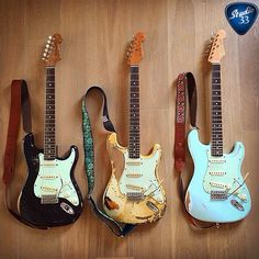 Happy Straturday! Which of these would you grab first? Left, Right or Center? @sbe81 has a tough choice. Poor guy. #stratocaster #guitars Learn to play guitar online at www.Studio33GuitarLessons.com