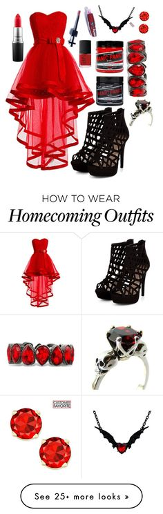 """Red prom"" by fallensnowaa on Polyvore featuring Manic Panic, memento, NARS Cosmetics and MAC Cosmetics"