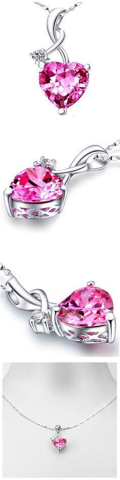 Other Fine Necklaces Pendants 164334: 4.03Ct Magenta Pink Sapphire Heart Cut Pendant Necklace Sterling Silver W/ Chain BUY IT NOW ONLY: $37.99