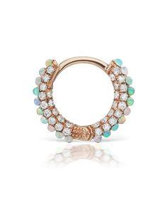 "5/16"" Opal and Diamond Pave Ring (Earlobe) | Earrings"