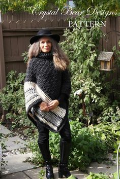 Looking for your next project? You're going to love Ebony & Ivory Crochet Poncho by designer Crystal Bear Designs.