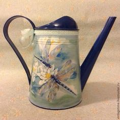 Hand-painted watering can. This is gorgeous. Dragonfly Wall Art, Dragonfly Jewelry, Metallic Blue, Metallic Paint, Painted Trash Cans, Decoupage, Acrylic Paint Brushes, Watering Cans, Dad Mug