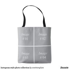 Instagram style photo collection tote bag