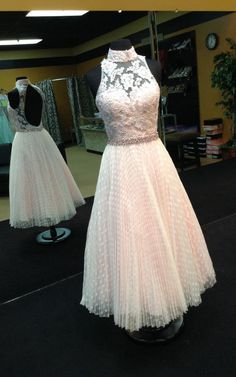 Ankle Length Ivory Prom Dress with Pleated