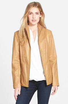 Cole Haan Wing Collar Lambskin Leather Jacket available at #Nordstrom