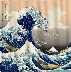 The Great Wave off Kanagawa Shower Curtain - CUSTOM Art rendition Interpreted from Art Rendition of Woodblock print by the Japanese Ukiyo-e Artist Hokusai published sometime between 1830 and 1833 Desi