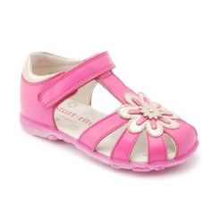 Hot Pink Leather T-bar Girls Summer Shoes