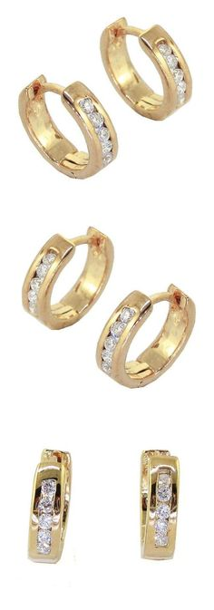 Diamond 10986: 0.20 Ct Hoops Huggies Earrings Vs1 F Round Cut Diamond Jewelry 14Kt Solid Gold -> BUY IT NOW ONLY: $222.47 on eBay!
