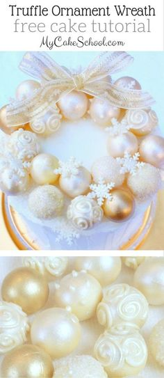 This gorgeous Ornament Wreath Cake is perfect for Christmas Parties! So simple to create. Free Tutorial by MyCakeSchool.com!