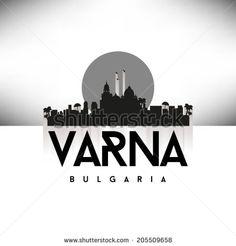 Varna Bulgaria Black Skyline Silhouette vector illustration, Typographic design.