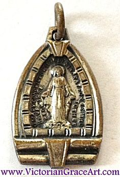 $39 Vintage small Art Deco era Catholic Holy pendant featuring the Blessed Mother, Virgin Mary, as Our lady of Grace and Miracles of the Miracul...
