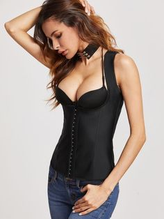 Shein Black Underbust Corset With Shoulder Strap
